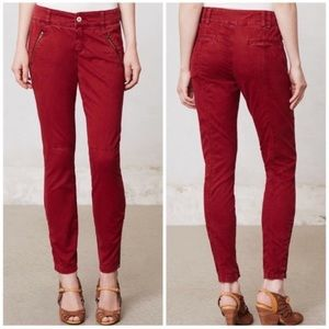 Anthro Pilcro Diamond-stitched Moto red pants